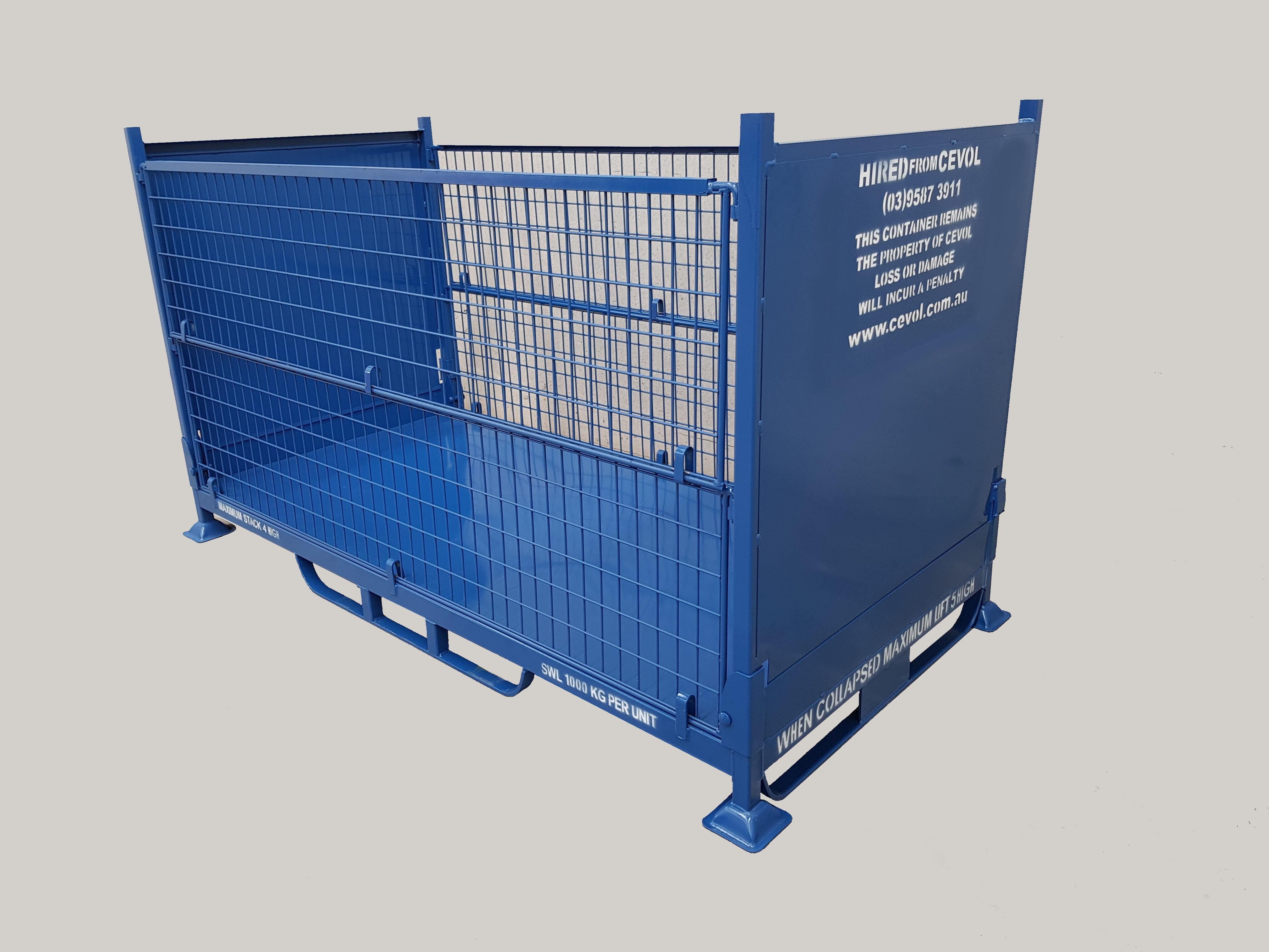 CBM.1R - Folding Bulk Mesh Pallet with half drop front & back gates