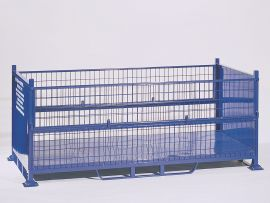 BM2 Steel Mesh Pallet with 2 half drop gates and sheet ends, Steel Mesh Stillage
